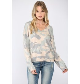 Camo V Neck Sweater - Taupe