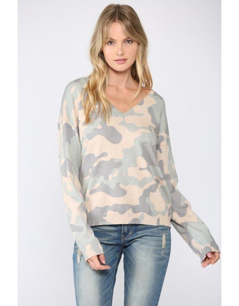 Camo V Neck Sweater - Taupe