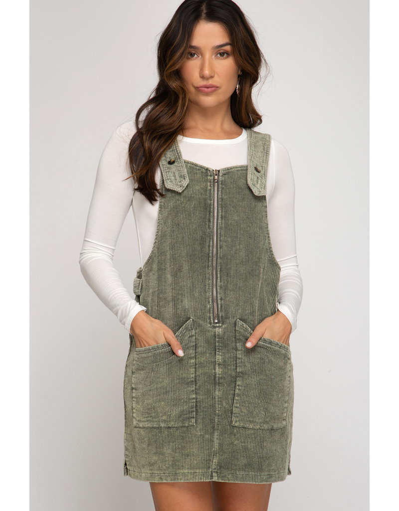 Corduroy Washed Overall Dress - Olive