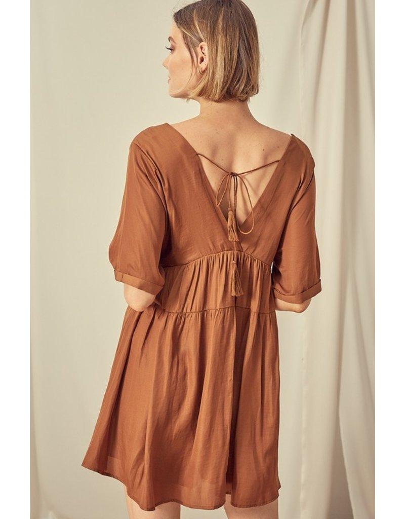 V Neck Midi Dress - Golden Brown