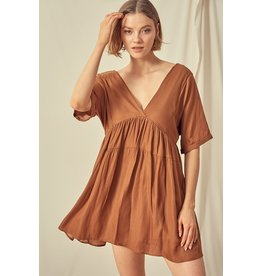 V Neck Midi Dress - Golden Brown