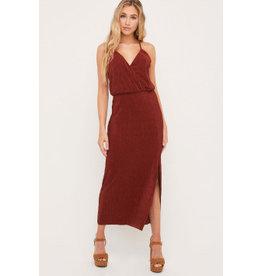 Pleated Maxi Dress - Cognac