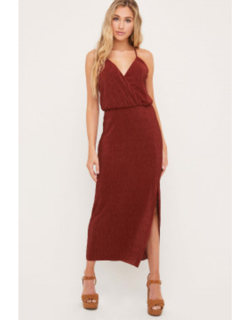 Pleated Maxi Dress - Cognac