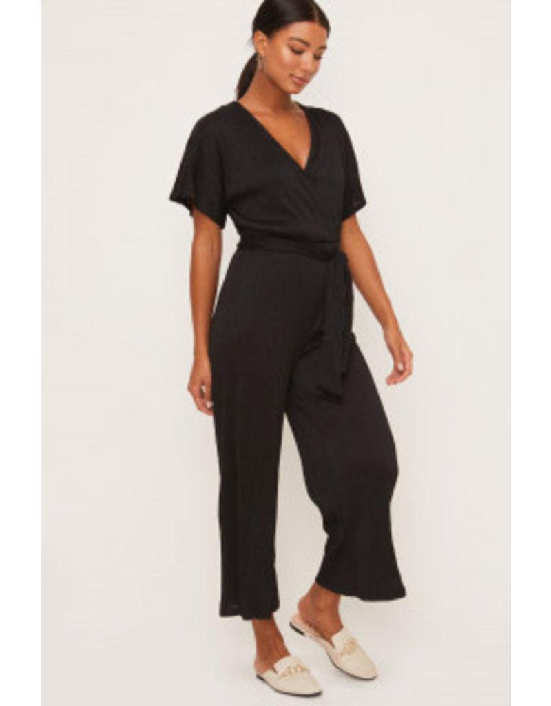 Wrap Front Jumpsuit - Black