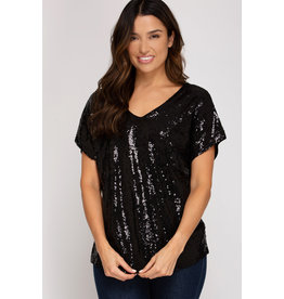 Drop Shoulder Sequin Top - Black