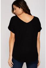 Drop Shoulder Sequin Top - Black