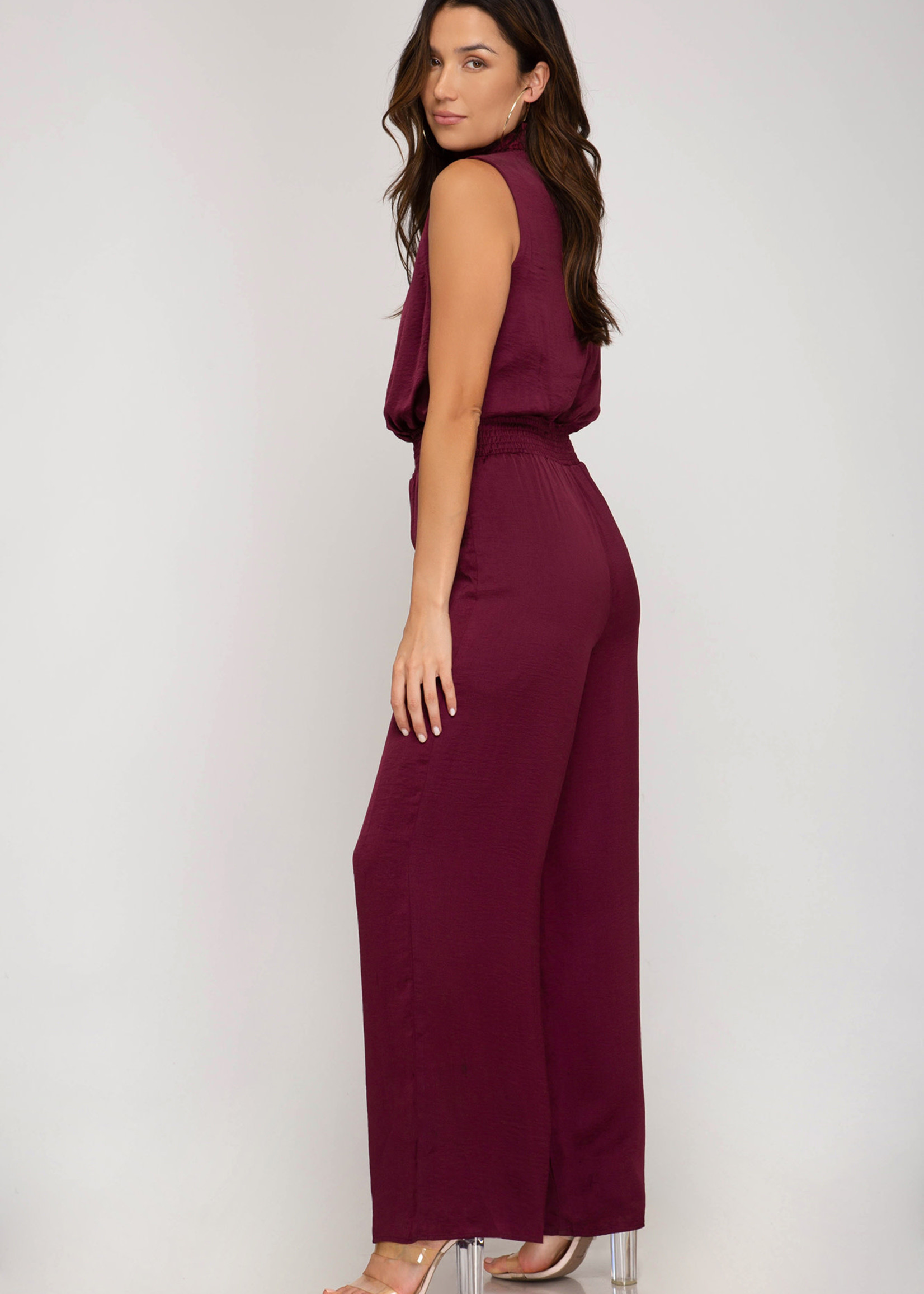 Sleeveless Satin Jumpsuit - Wine