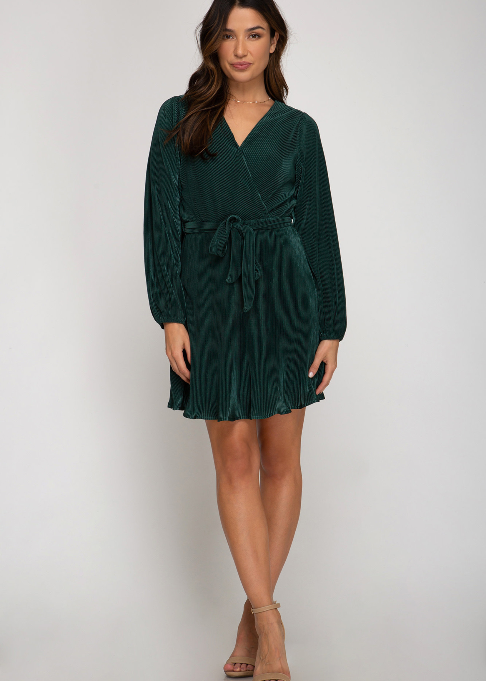 Long Sleeve Pleated Dress - Sea Green