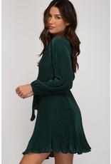 Long Sleeve Pleated Dress - Sea Green