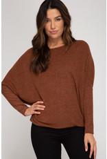 Brushed Knit Sweater - Chestnut