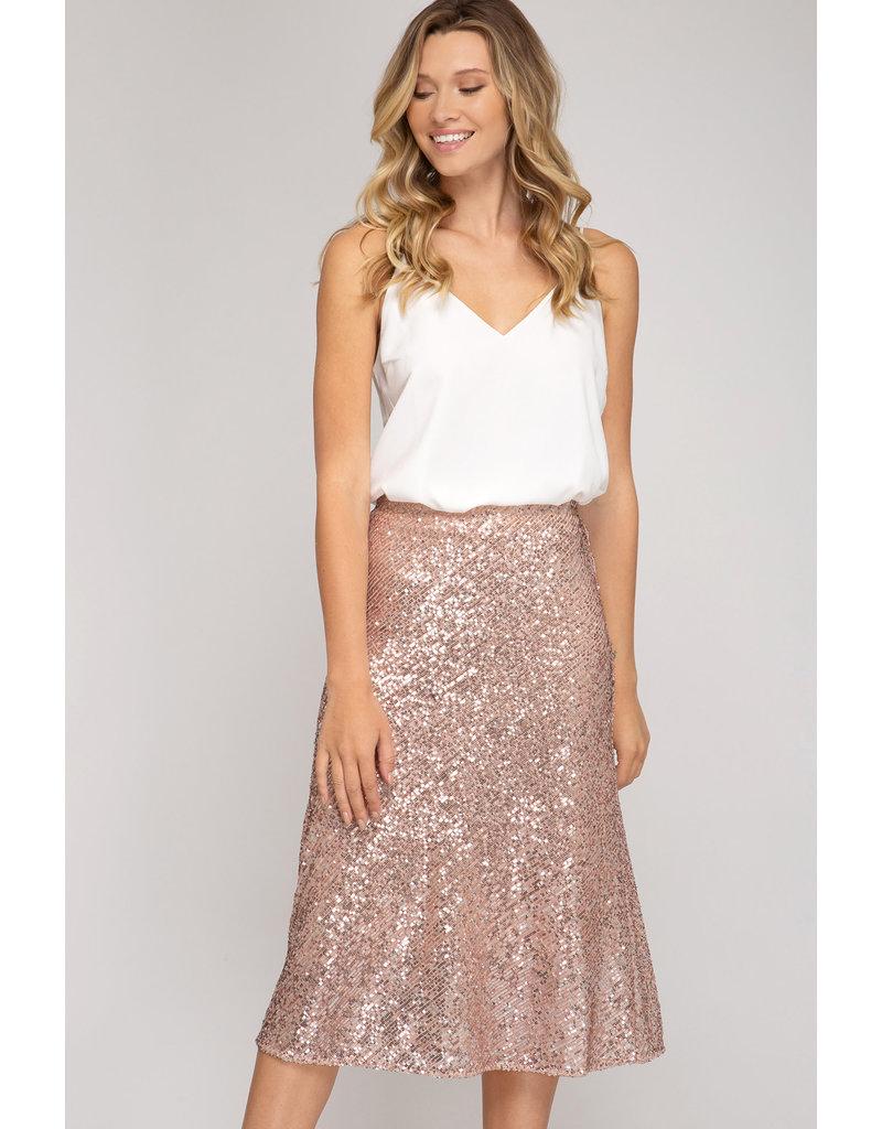 Sequin Midi Skirt - Rose Gold