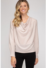 Long Sleeve Cowl Neck Top - Champagne