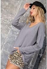 Light Weight V Neck Sweater - Grey