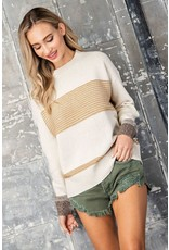 Ribbed Sweater with Mixed Stripe - Mustard