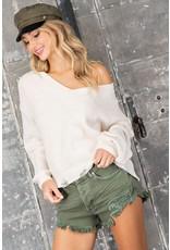 Chenille V Neck sweater w/distressed hem - Cream