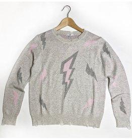 Distressed Lighting Bolt Sweater - Grey/pink