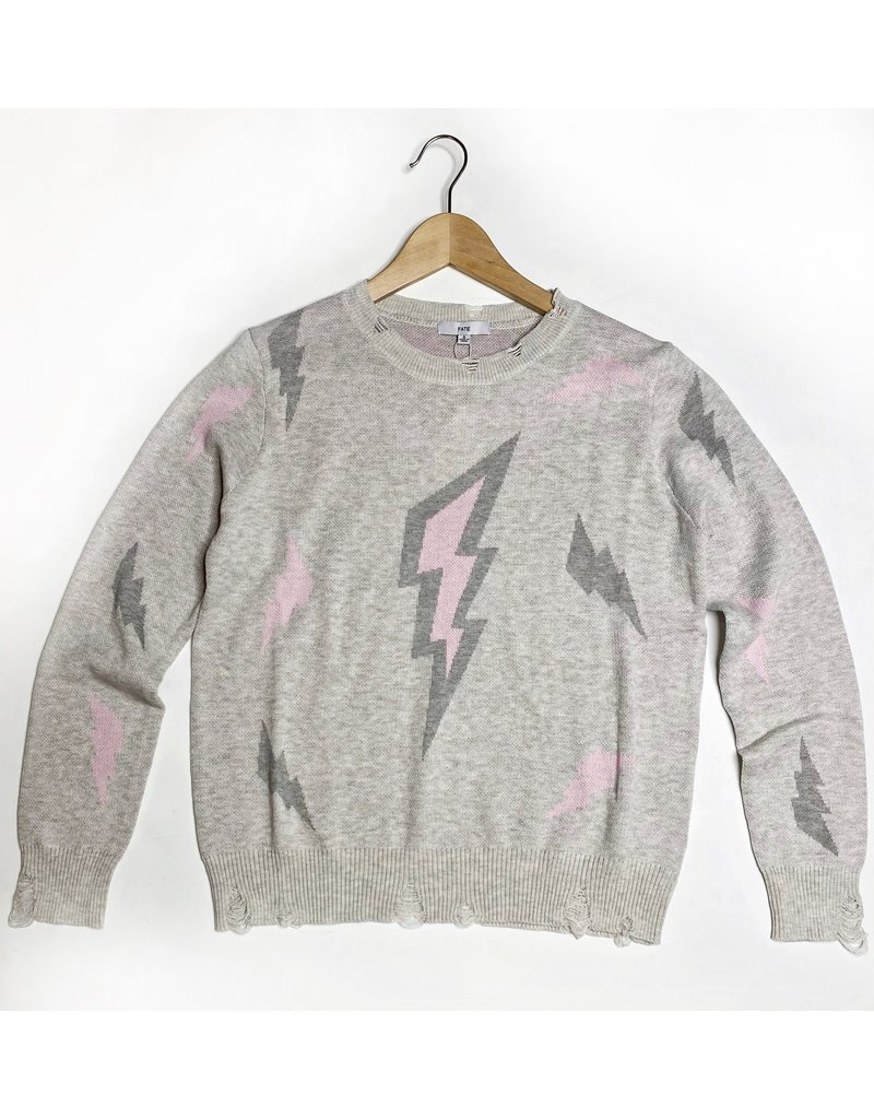 Distressed Lighting Bolt Sweater - Grey/pink
