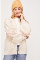 Color Block Cardigan - Cream/Pink
