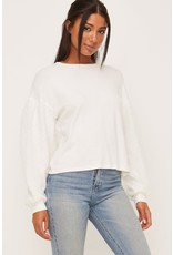 Knit Top w/swiss dot sleeves - Off White