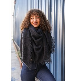 Mohair square blanket scarf - Black