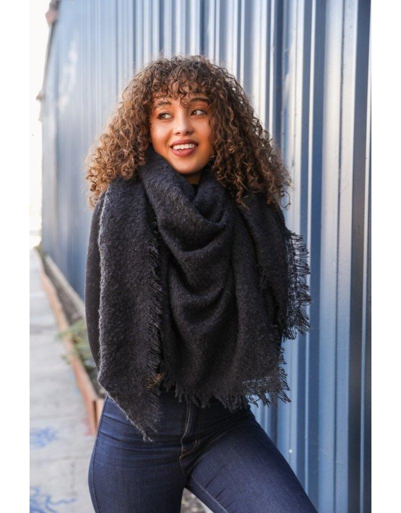 Mohair square blanket scarf - Black