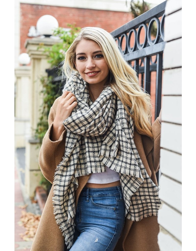 Plaid Blanket Scarf - Ivory