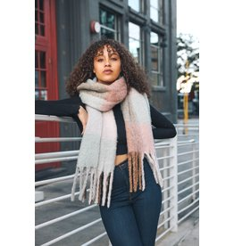 Oversized Color Block Tassell Scarf