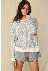 Leopard Print French Terry - Grey