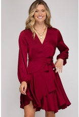 Long Sleeve Satin Wrap dress - Wine