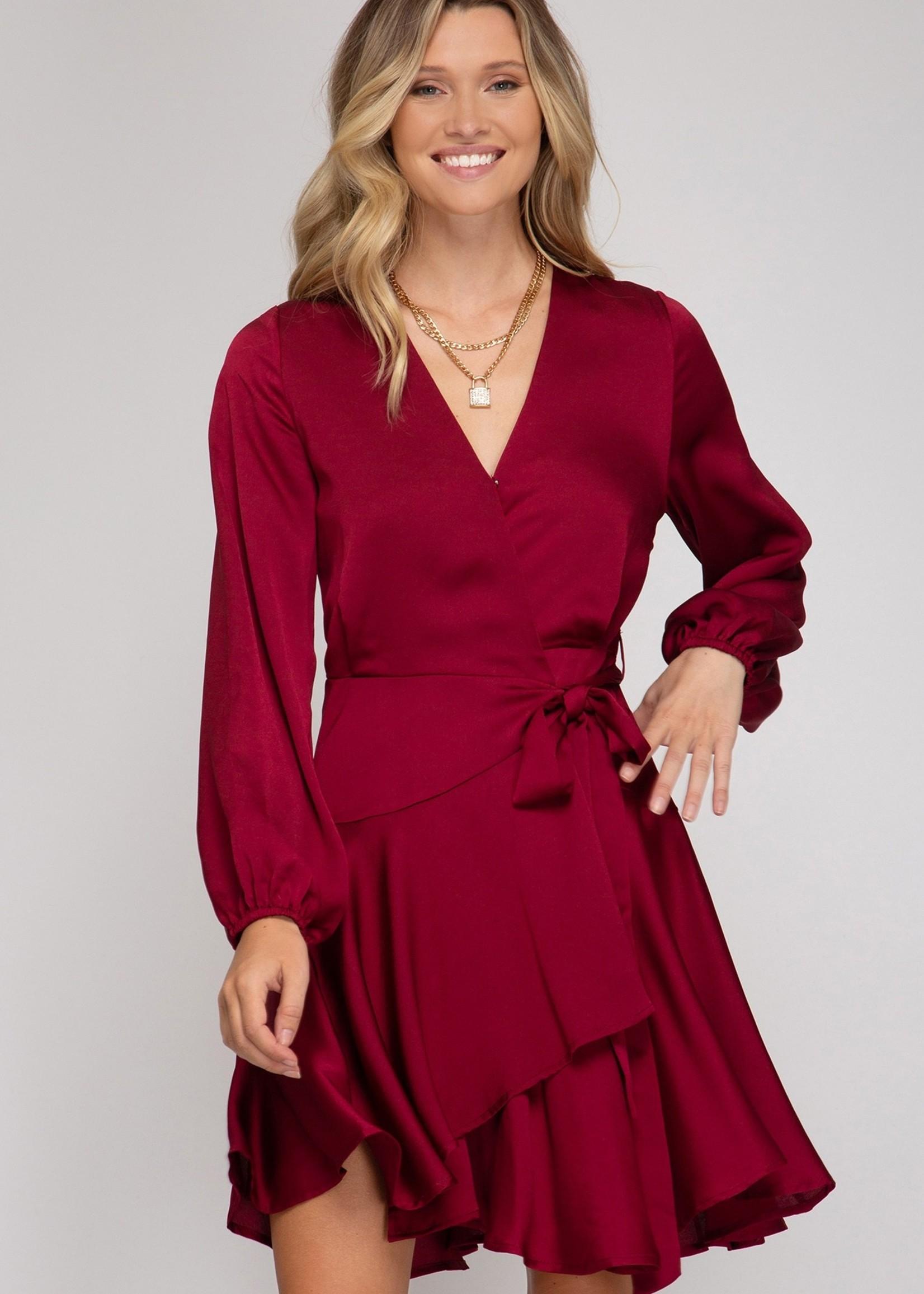 Long Sleeve Satin Wrap dress - Wine