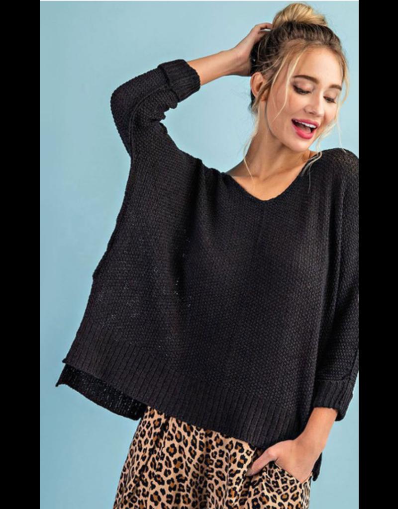 V Neck 3/4 sleeve sweater - Black