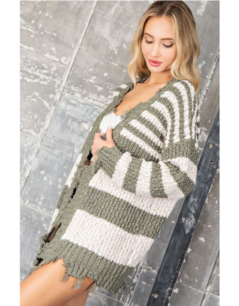 Distressed Stripe Cardigan - Olive/Cream