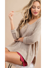 V Neck 3/4 sleeve sweater - Oatmeal