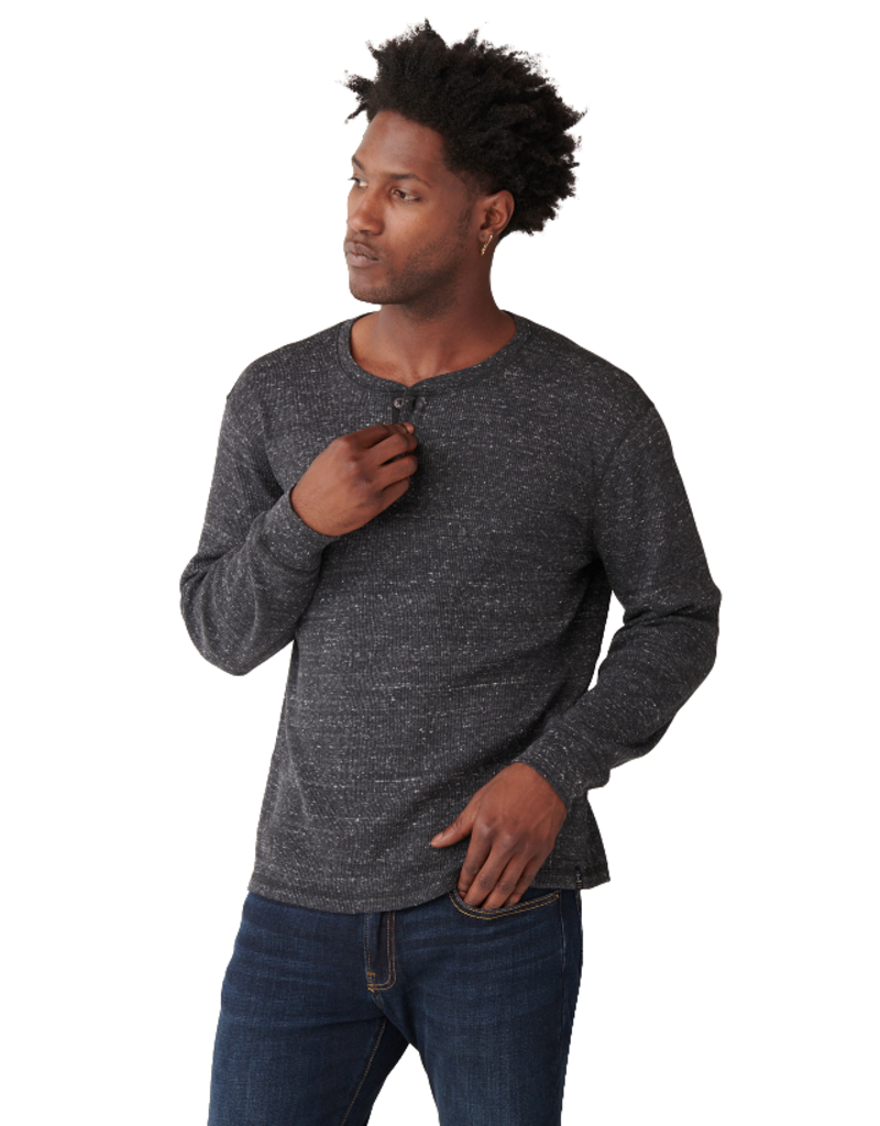 Lucky Brand Snow Heather Henley - Black