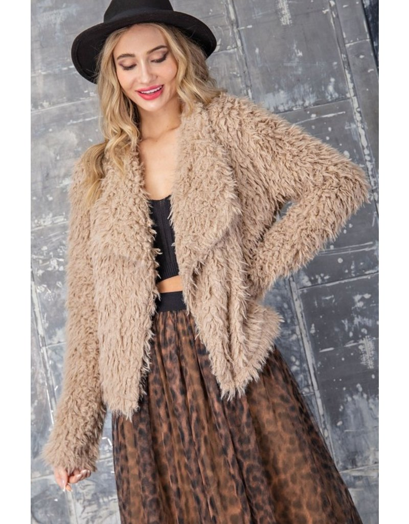 Waterfall Fuzzy Jacket - Coco