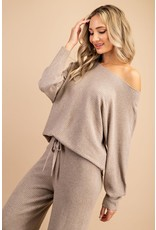 Ribbed Off Shoulder Sweater - Oatmeal