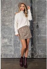 Chenille Off One Shoulder Sweater - Cream
