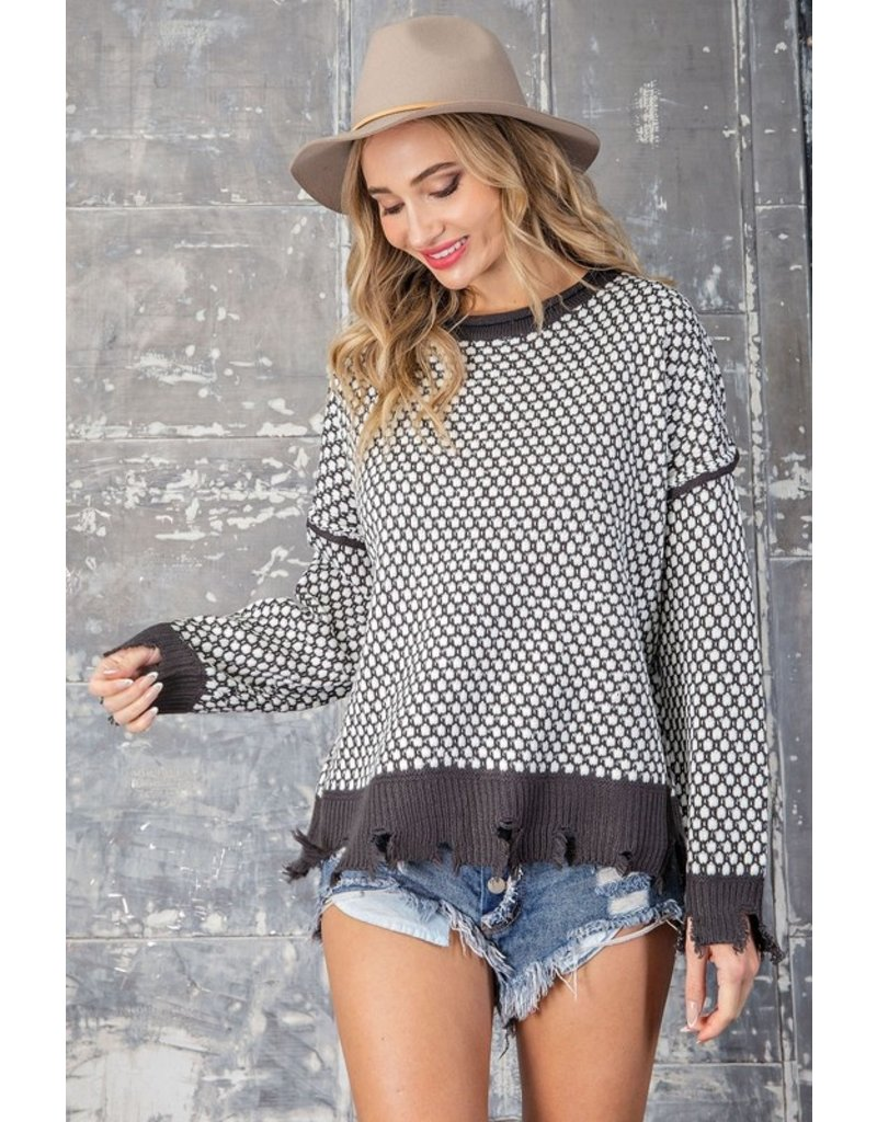 Textured Sweater with Distressed Hem - Charcoal
