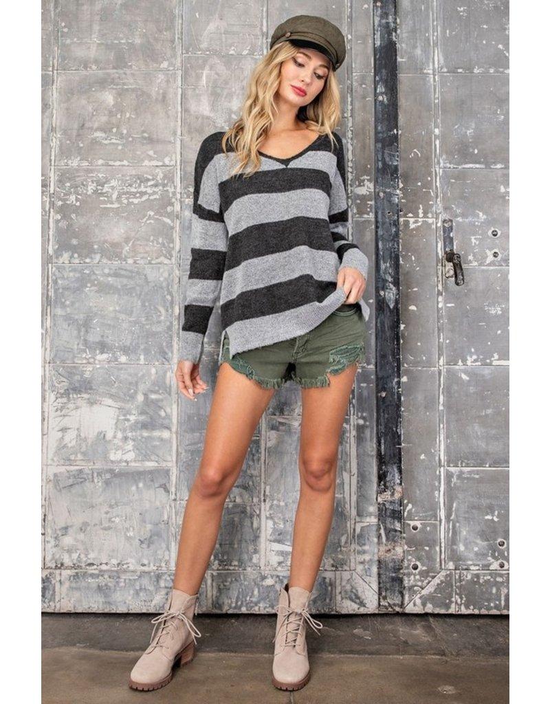 V Neck Stripe Sweater - Grey/Black