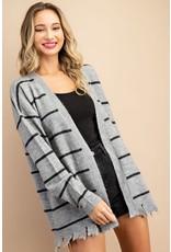 Stripe Cardigan With Distressed Hem - Heather Grey