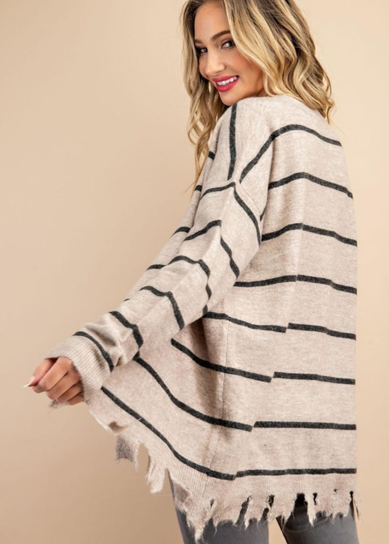 Stripe Cardigan With Distressed Hem - Oatmeal