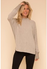 Brushed Hacci Dolman Sleeve Top - Taupe