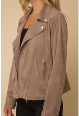 Suede Moto Jacket - Taupe
