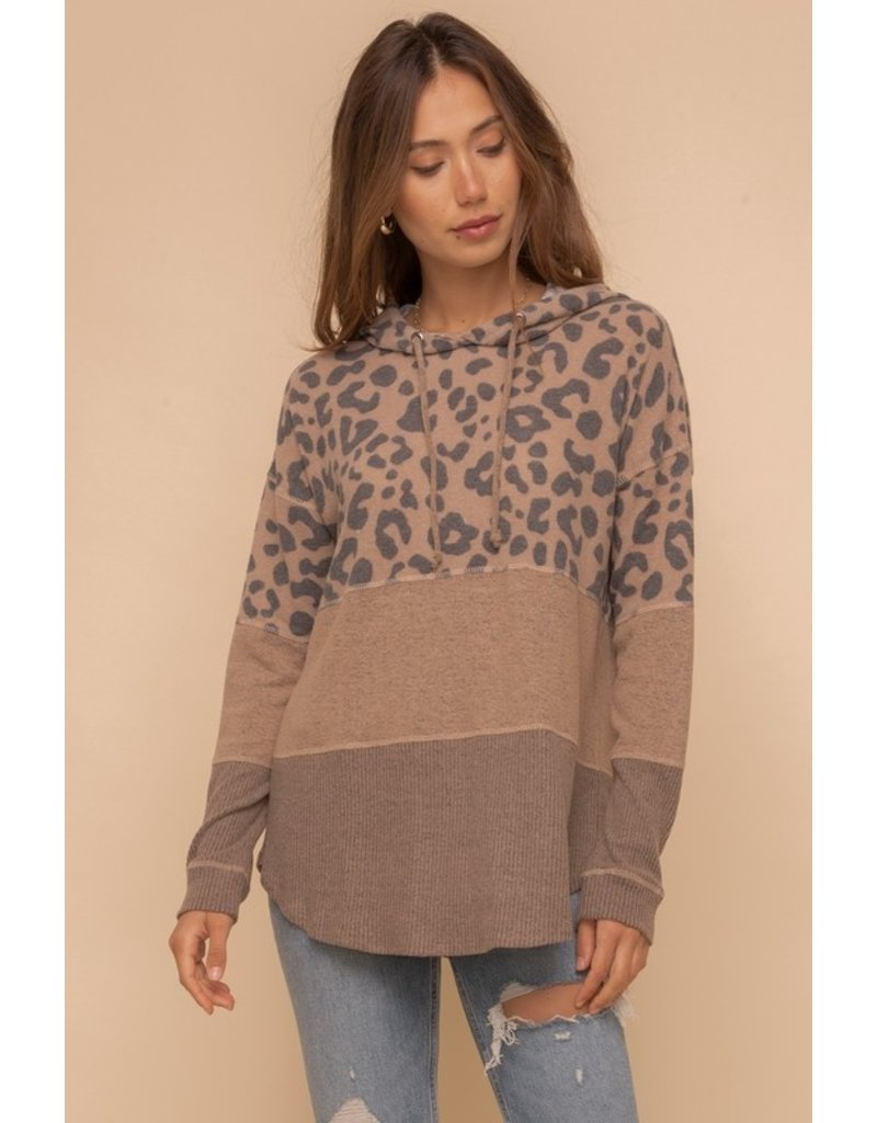 Soft Mixed Print Hoodie - Camel/Leopard