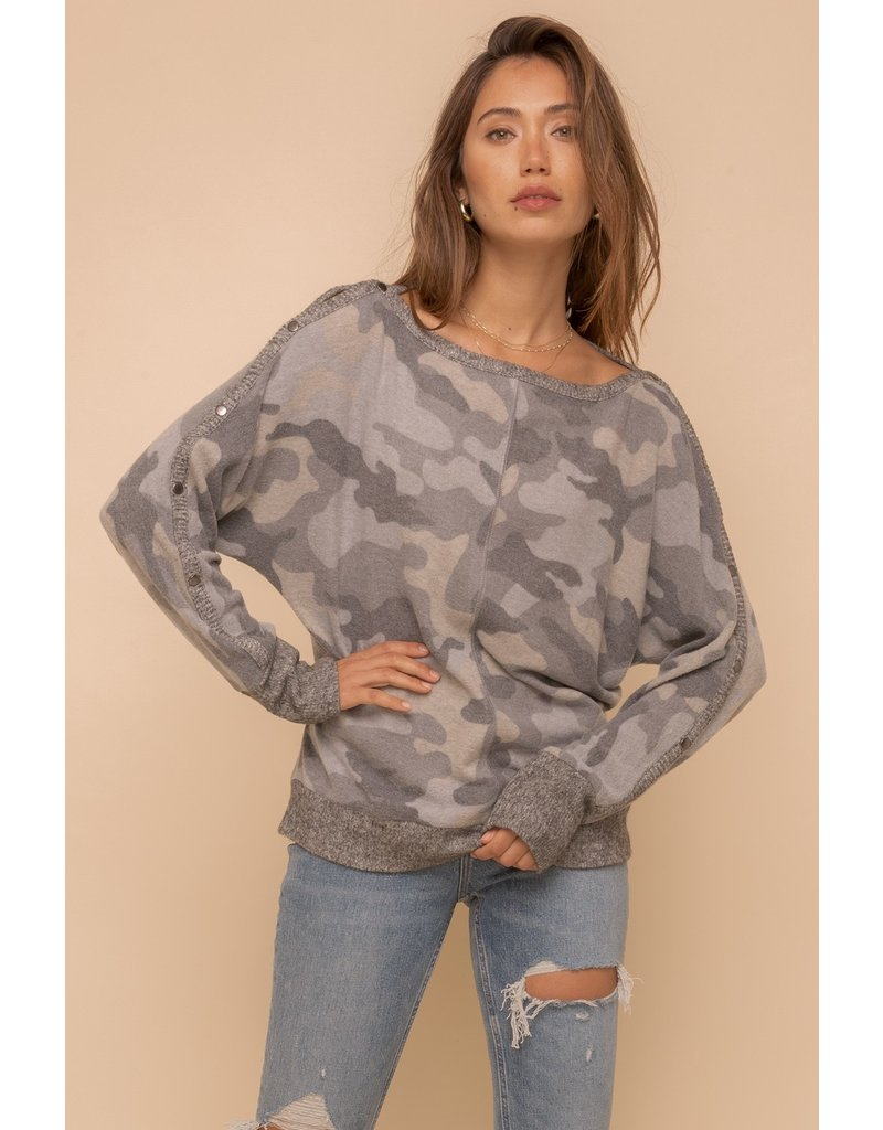 Brushed Hacci Boat Neck Top - Grey Camo