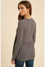 Babydoll Waffle knit Top - Charcoal