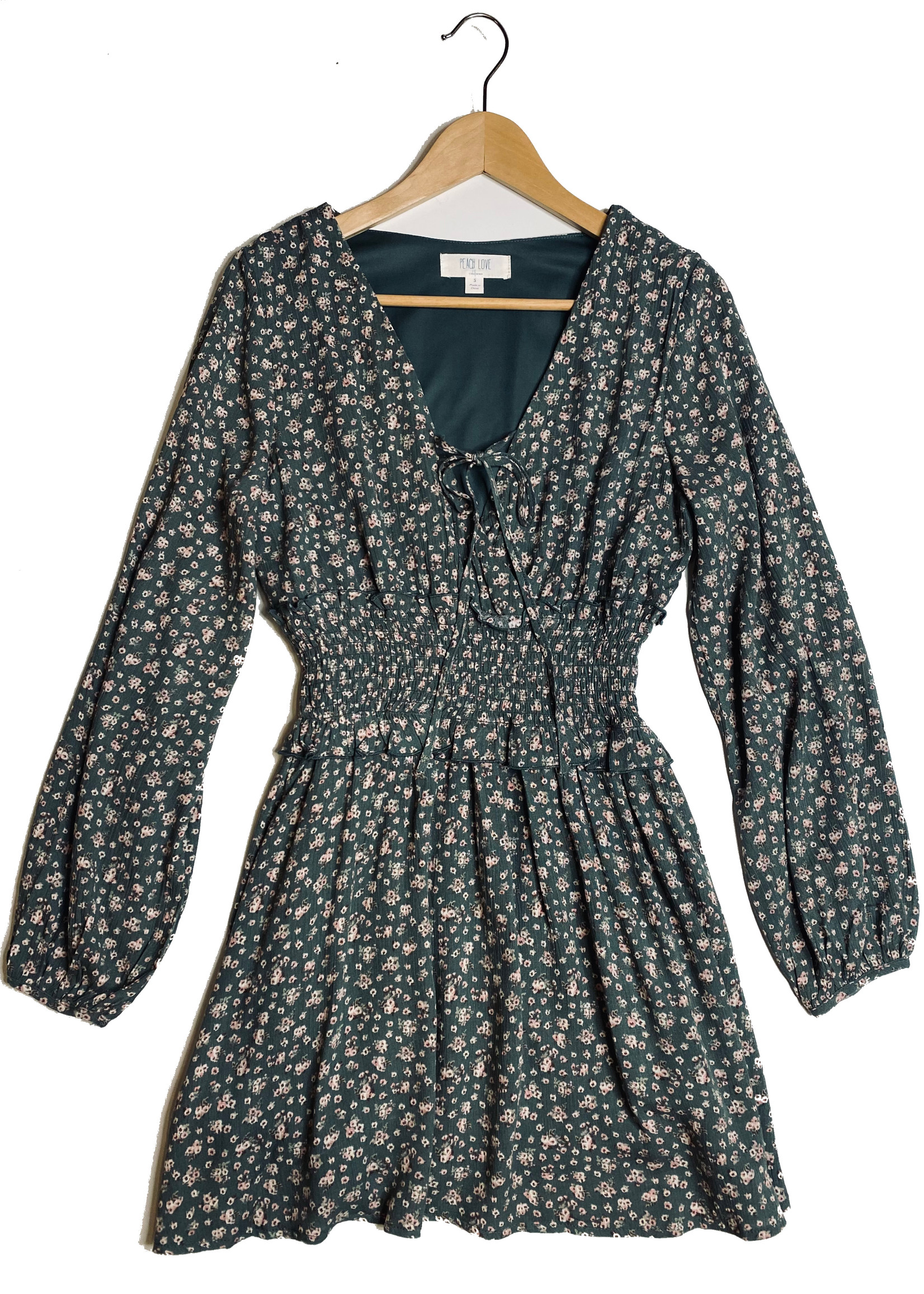 Long Sleeve Smocked Waist Dress - Sage