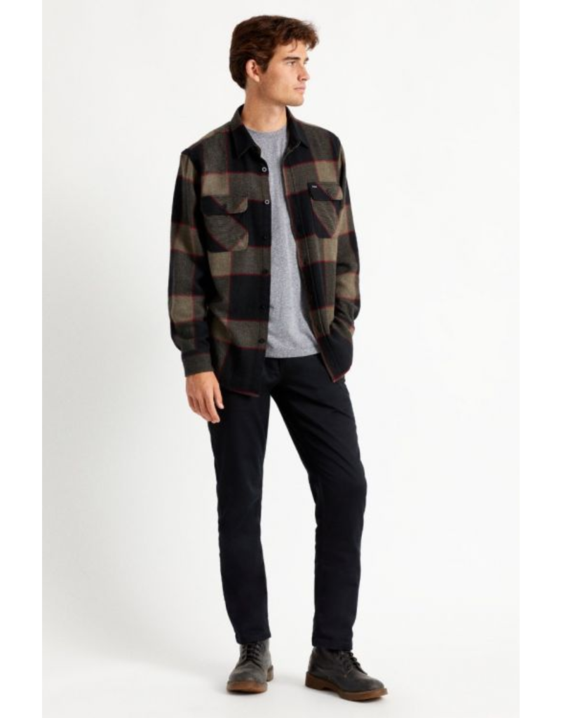 Brixton Bowery Flannel - Heather Grey/Charcoal