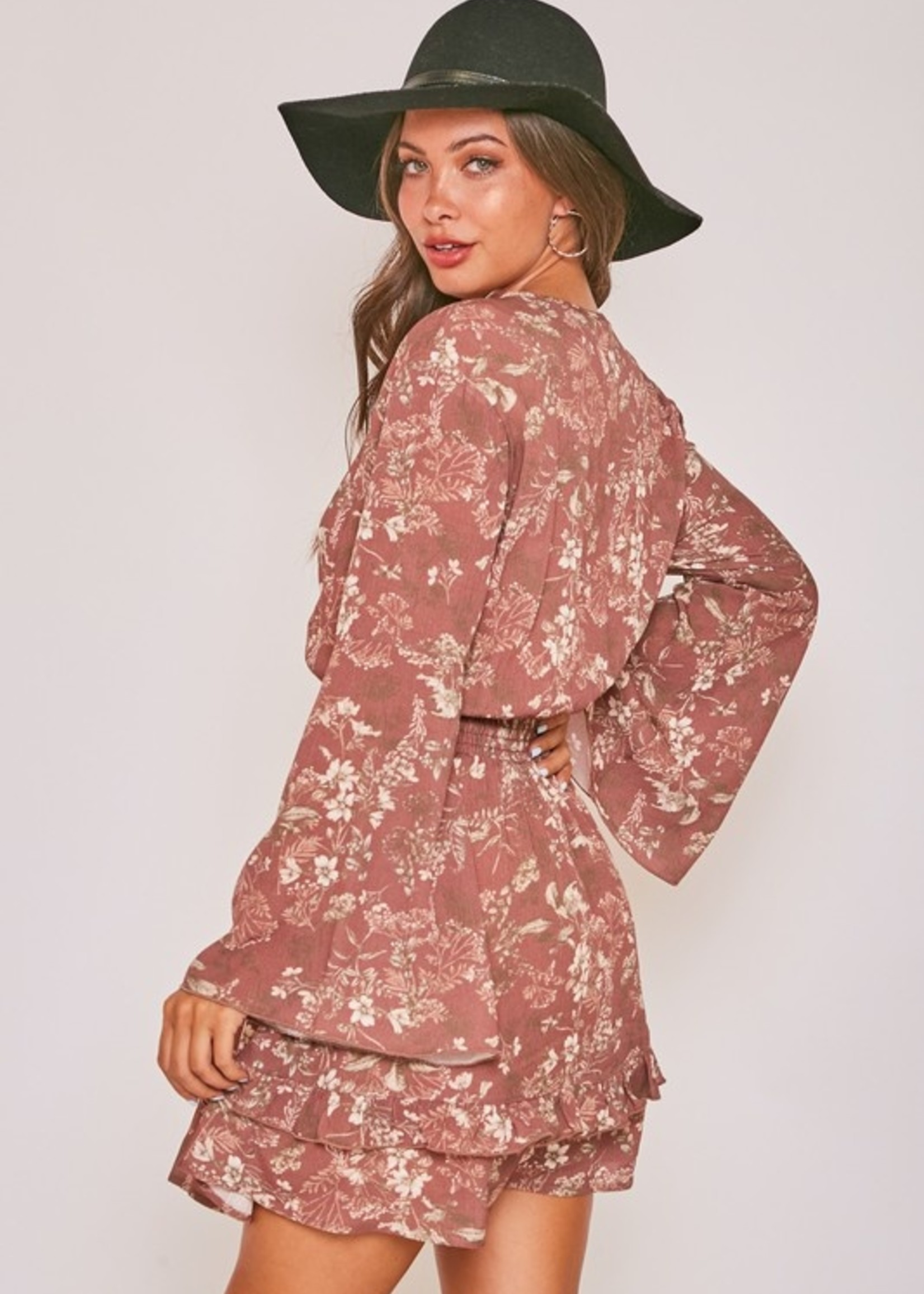 Floral Print Dress with Smocked Waist