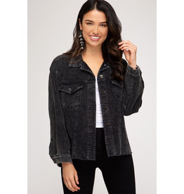 Cord Jacket - Washed Black